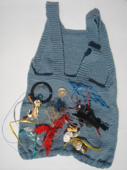 """Nature Child"" knitted wool swimsuit, beach debris, 2011-2013."