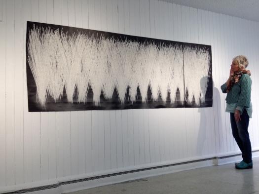 """""""grass"""" 2013, tar paper, chalk, (110"""" x 40"""".)"""