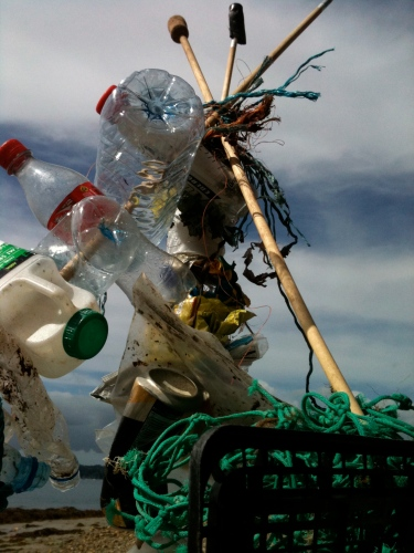 Beach debris tipi - collaboration with Jan Nowell, Christina Romero Cross and Tina Player, 2011, Falmouth, UK.