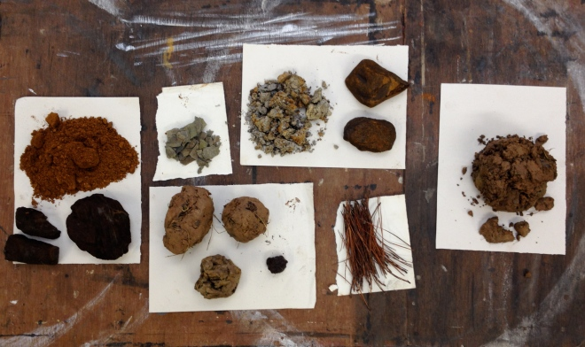 Earth pigments collected in Devon, UK. March 2014